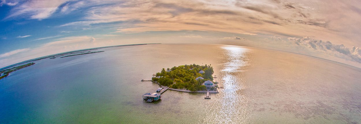 Cayo Espanto Sunset Overhead View